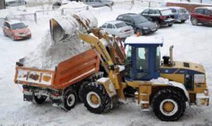 Фото уборки и вывоза снега с территории